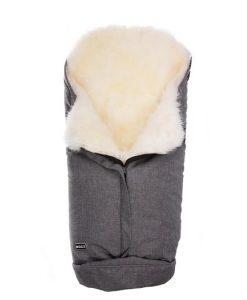 Bozz åkpåse lammskinn, grå melange/vit långhårig