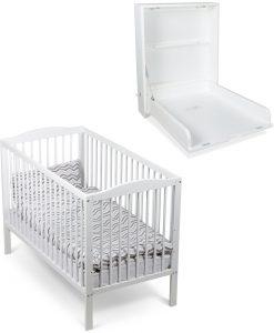 JLY Paket Spjälsäng Dream Basic & Väggskötbord Dream, Vit