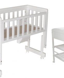 Troll Bedside Crib Two, Vit & Troll Skötbord Lux, Vit