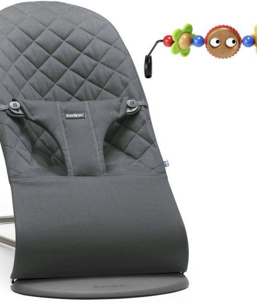 BabyBjörn Bliss Babysitter Cotton inkl. Leksak, Antracitgrå