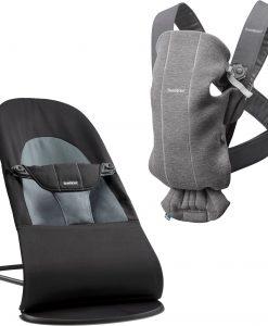 Babybjörn Babysitter Balance Soft inkl. Bärsele Mini 3D Jersey, Black/Dark Grey