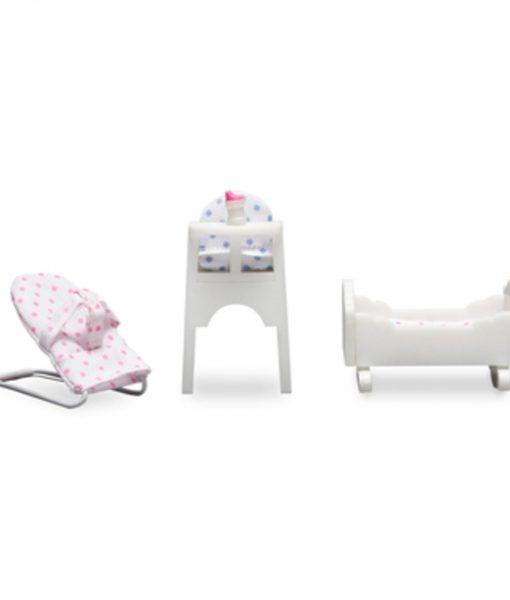 Lundby Dockskåpstillbehör Möbelset Småland Babymöbelset