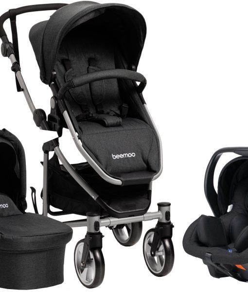 Beemoo Flexi Travel 3 Duovagn inkl. Babyskydd, Black Melange
