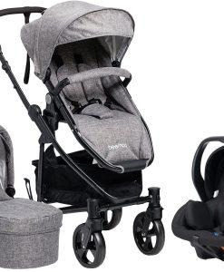 Beemoo Flexi Travel 3 Duovagn inkl. Babyskydd, Grey Melange