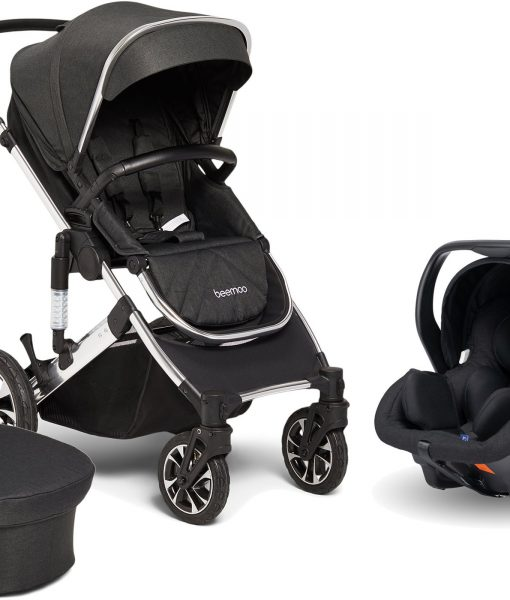 Beemoo Maxi 4 Duovagn Inkl. Axkid Modukid Infant Babyskydd, Black/Silver