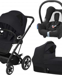 Cybex Talos S Lux Duovagn inkl. Maxi-Cosi Babyskydd, Deep Black/Black