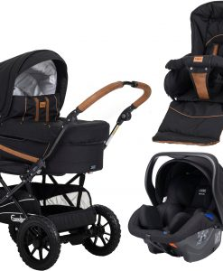 Emmaljunga Edge Duo S Duovagn AIR 2021 inkl. Modukid Babyskydd, Outdoor Black