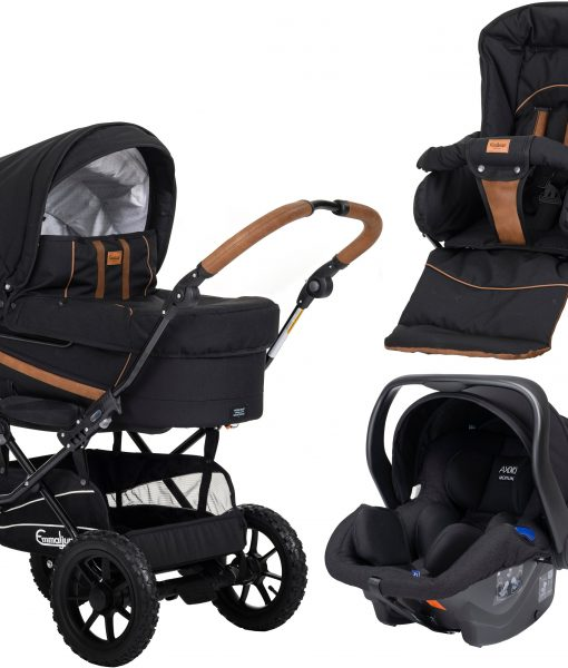Emmaljunga Edge Duo S Duovagn AIR 2021 inkl. Modukid Babyskydd, Outdoor Black