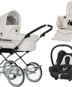 Emmaljunga Mondial Duo de Luxe Duovagn 2021 inkl. Cabriofix Babyskydd, Leatherette White
