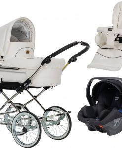 Emmaljunga Mondial Duo de Luxe Duovagn 2021 inkl. Modukid Babyskydd, Leatherette White