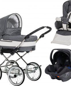 Emmaljunga Mondial Duo de Luxe Duovagn 2021 inkl. Modukid Babyskydd, Lounge Grey