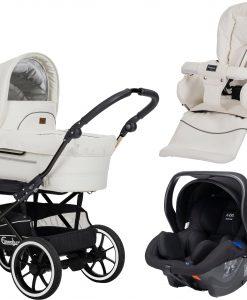 Emmaljunga Mondial de Luxe S Duovagn 2021 inkl. Modukid Babyskydd, Leatherette White