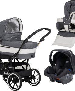 Emmaljunga Mondial de Luxe S Duovagn 2021 inkl. Modukid Babyskydd, Lounge Grey