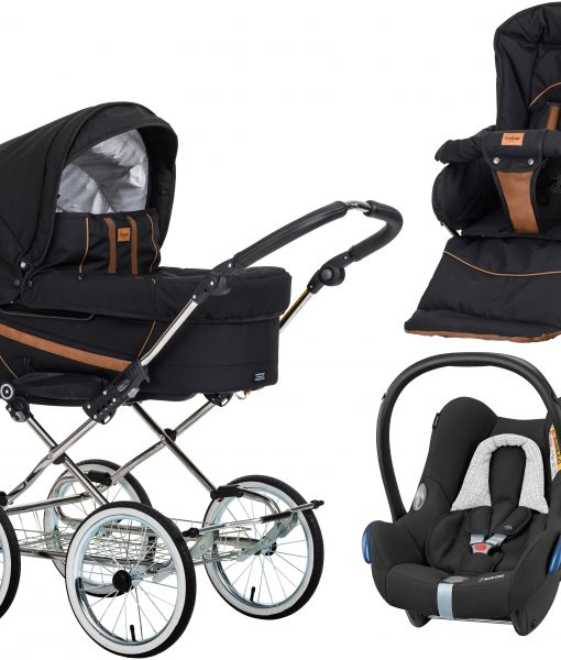 Emmaljunga Edge Duo De Luxe Duovagn 2021 inkl. CabrioFix Babyskydd, Outdoor Black