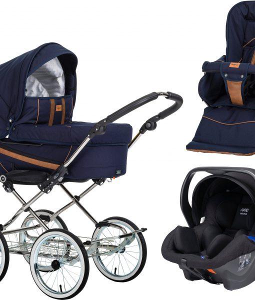 Emmaljunga Edge Duo De Luxe Duovagn 2021 inkl. Modukid Babyskydd, Outdoor Navy