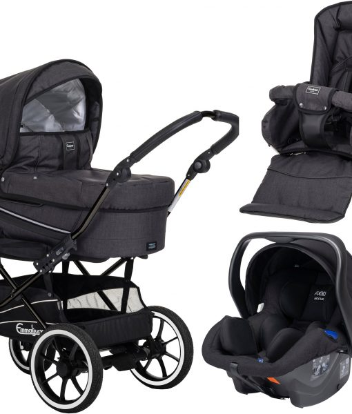 Emmaljunga Edge Duo S Duovagn 2021 inkl. Modukid Babyskydd, Lounge Black