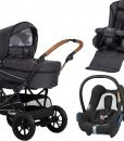 Emmaljunga Edge Duo S Duovagn AIR 2021 inkl. CabrioFix Babyskydd, Lounge Black