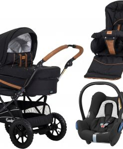 Emmaljunga Edge Duo S Duovagn AIR 2021 inkl. CabrioFix Babyskydd, Outdoor Black