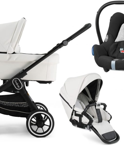 Emmaljunga NXT60 FLAT Duovagn 2021 inkl. Maxi-Cosi CabrioFix, Leatherette White