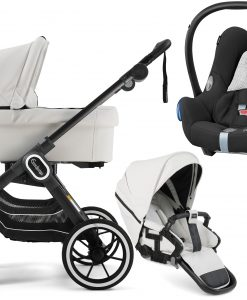 Emmaljunga NXT90 FLAT Duovagn 2021 inkl. Maxi-Cosi CabrioFix, Leatherette White