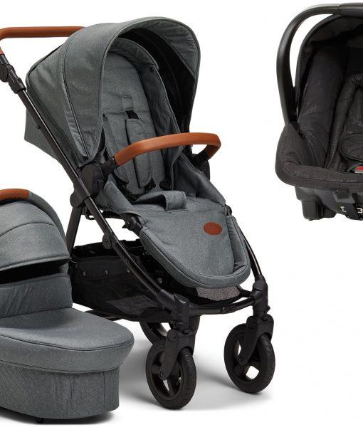 Petite Chérie Heritage 2020 Duovagn inkl. Travelsystem Axkid Babyfix, Moss Green/Black