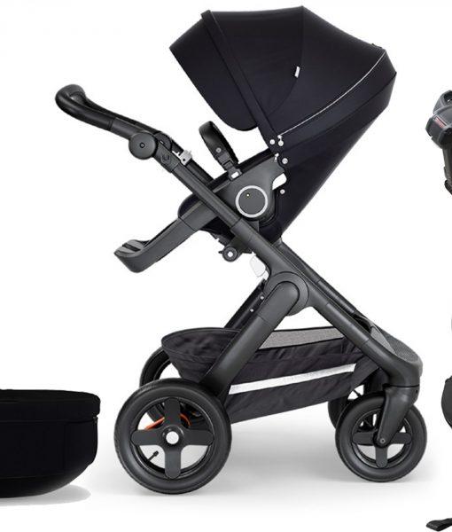 Stokke Trailz Duovagn inkl. Babyskydd & Bas, Black